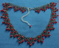 Free pattern for beaded necklace Sorbo   U need: seed beads 11/0 rondelle crystals 4*6 mm