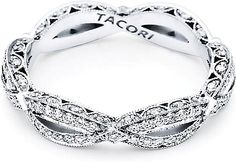 Tacori Ribbon Twist Pave Diamond Band  : Eternal love. Precious metal panels scattered with diamonds sparkle along a woven ribbon twist. A delicate silhouette of lace-like diamonds, creates a phenomenal profile to last a lifetime. Worn as a wedding band or as a right hand ring, this band has an all-around feel of elusive glamour.