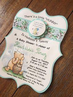 Classic Winnie The Pooh invitations/Classic Winnie The Pooh Baby Shower/winnie the pooh decorations/ Baby Shower Fun, Baby Shower Gender Reveal, Baby Shower Cakes, Baby Shower Parties, Baby Shower Themes, Shower Ideas, Baby Showers, Shower Party, Shower Games