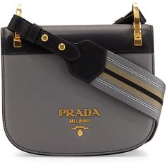 Prada Pionni&re Web-Strap Shoulder Bag (47 170 UAH) ❤ liked on Polyvore featuring bags, handbags, shoulder bags, grey handbags, shoulder bag purse, colorblock purse, flap purse and flap handbags