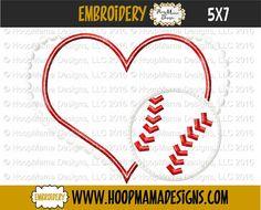 Baseball Heart Applique 4x4 5x7 6x10 Machine by HoopMamaEmbroidery