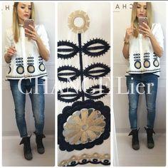 New❤️ Lubicie taki Look?❤️ My uwielbiamy Piękna bluzka z haftowanym wzorem o delikatnym trapezowym fasonie