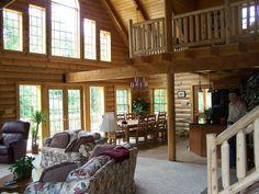 Bearbrook model great room by Honest Abe log Homes ... Contact Jack@LogHomesByJack.com at 800 767-4916