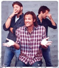 LOVE this one. Look at Misha! And I like that beard on Jensen.