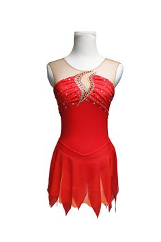 """Red """"Girl on Fire"""" figure skating dress. Learn more about custom skating dresses at sk8gr8designs.com"""
