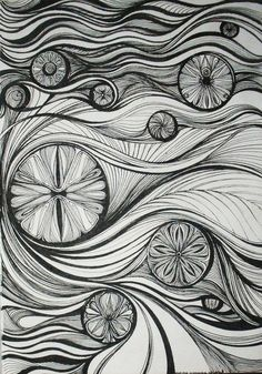 Really interesting black and white zentangle patterns used to create an image that reminds me of Van Gogh's The Scream. Doodles Zentangles, Zentangle Drawings, Zentangle Patterns, Doodle Drawings, The Elegant Universe, Tangle Art, Tangle Doodle, Principles Of Design, Zen Art
