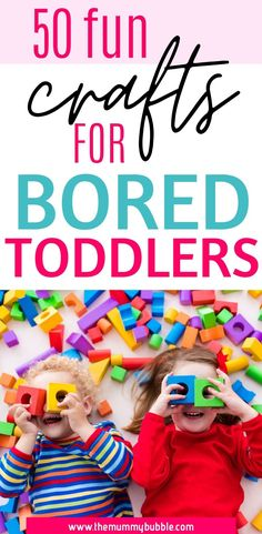 Need to keep your bored toddler happy? Check out these 50 fab crafts for bored toddlers. Lots of simple and fun craft ideas to do with your toddler at home # Rainy Day Activities, Indoor Activities, Educational Activities, Learning Activities, Summer Activities, Toddler Play, Toddler Preschool, Toddler Crafts, Toddler Activities