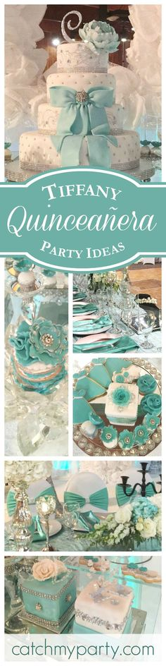 A magnificent Tiffany themed Quinceañera birthday party! The decorations and dessert table are fabulous! Invitations Quinceanera, Quinceanera Planning, Quinceanera Decorations, Quinceanera Party, Box Invitations, Tiffany Girls, Tiffany Theme, Tiffany Party, Tiffany Wedding
