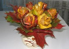 Roses made of Autumn leaves... Stunning!  Must try...