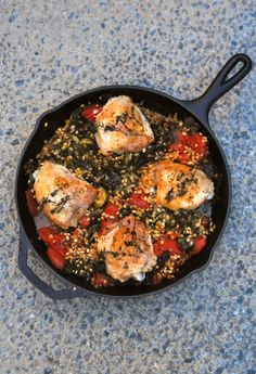 Two Blue Lemons: Cast Iron Skillet Chicken Thighs: Two Ways (Easy Weekday Dinner)