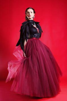 Burgundy tulle skirt Handmade maxi skirt Handmade by Fanfaronada