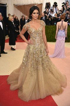 3f7340578d4 Nina Dobrev Princess Gown - Nina Dobrev looked like she just stepped out of  a fairy tale in this embellished beige princess gown by Marchesa during the  Met ...