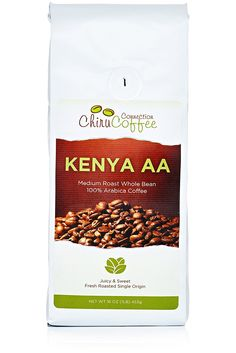 Chiru Coffee Connection Fresh Roasted Kenya's Finest AA Roasted Whole Bean 100% Arabica Coffee - 16 oz. Bag (1LB) *** New and awesome product awaits you, Read it now  : Fresh Groceries