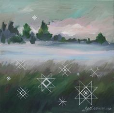 Traditional latvian folk symbols on a misty meadow - (Original canvas painting, 40x40cm) Good fortune charm for you / folk themed gift idea...