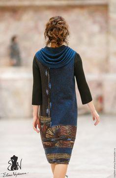 Купить валяный платье сарафан - комбинированный, платье, сарафан, сарафан валяный, платье сарафан