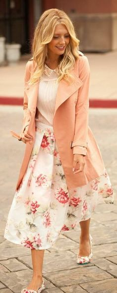 Vintage Rose Fall Trench by Bird a la mode