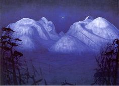 The Athenaeum - Winter Night in the Mountains (Harald Oskar Sohlberg - ) Blue Painting, Winter Night, Romanticism, Nocturne, Oslo, Art Boards, Art History, National Parks, Fine Art
