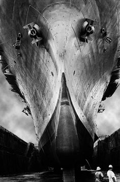 Fish Out Of Water - USS Inchon in dry dock by Montie Talbert, Portsmouth, Virginia, 1969.