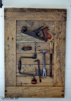 Keepsake Tools Display....I was given a bunch of old tools that belonged to my husband's grandfather.Rather than keep them boxed up in storage, I created a rustic display for them, so we can enjoy seeing them in our home, and they are a remembrance for my husband of his grandfather.