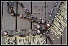 Custom tack set/buckstitched w/bone fringe/antique copper conchos