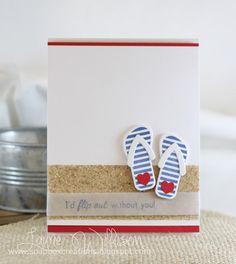 Sandpaper embellishment on summer card