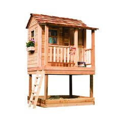 The Little Squirt Play set provides little ones with a playhouse and sandbox combo sure to bring hours of enjoyment. The playhouse cabin features 3 aluminum windows and 1 half dutch door. The roof comes with cedar shingles already attached.