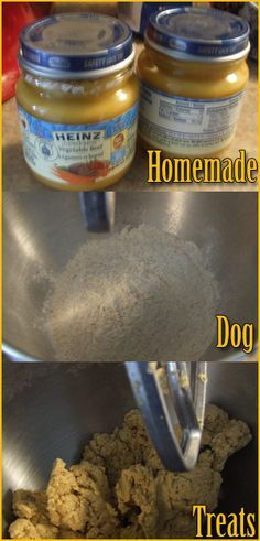 Homemade Dog Treats- Ingredients: 2 cups 100% organic whole wheat flour (or wheat germ, or spelt, or rolled oats, or a mixture of these, etc.) and 2 (4oz) jars of pureed baby food - beef, blueberry, sweet potato, chicken - whatever. Just make sure there are no onions/onion powder in it*. Avoid any with artificial preservatives (should be easy, most are just pureed veggies and water).