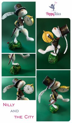 This art doll depicts a white rabbit dashing across the lawn. His waistcoat, top hat, and large gold pocket watch show that this country bunny hurrying to his new job in the city. One foot is already stretched out in front of him as he runs forward, with the other foot planted on the grass. His long ears trail behind him as he, and his eyes are fixed on his destination. A light layer of gold shimmers on the surface of his coat and hat, adding a fairy-dust like shine to the entire piece.