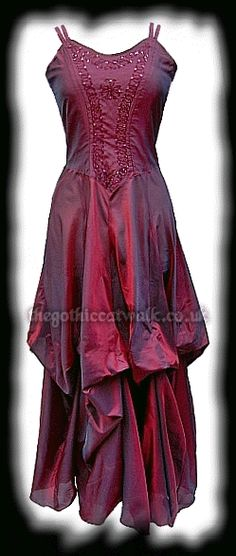 Long Red Silky Gothic Victorian Dress - Prom