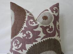 """Designer Suzani Print Decorative Pillow Cover 20"""" x 20"""" - Fahri Grape. $46.00, via Etsy."""