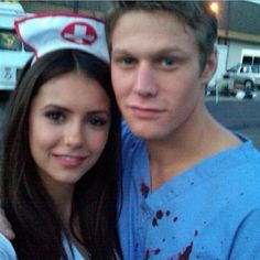 Nina Dobrev and Zach Roering in the set of TVD Season 1