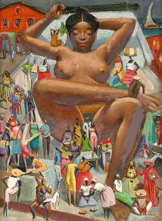 """""""Mulata Grande"""", 1980, óleo sobre tela de 61 x 45 cm - obra exposta no MAM de Salvador em homenagem aos 70 anos da chegada de Carybé à Bahia"""