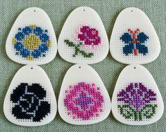 DIY Cross Stitch Pendant Blank - Ivory Teardrop Acrylic. $12.00, via Etsy.