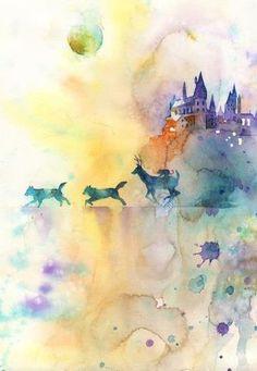 watercolor art, maraud, harri potter, art illustrations, hogwarts, watercolor paintings, art paintings, harry potter tattoos, harry potter art