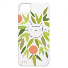 Clementine Cat iPhone 4 & 5 Hard Cases by www.RiveGaucheCraft.com #Bright #Tropical #Botanical