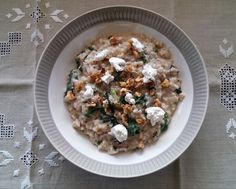 Lovely vegetarian recipe of goats cheese and walnut risotto made from pearl barley.