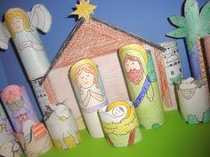 Printable nativity to fit on cardboard tubes. We did these last year. SO CUTE.