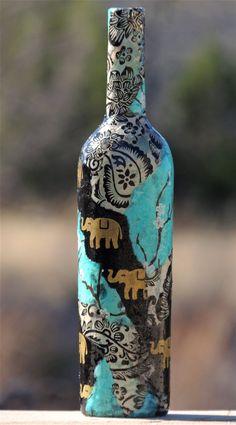 Blue Cherry Blossoms and Black Elephants by cutelittlecanvases, $20.00 #wine #bottle #vase #decoupage #decoration #love