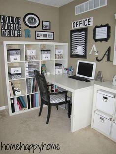 Nice corner home office idea!                                                                                                                                                                                 More