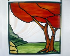Fall Tree Landscape Stained Glass Panel, Fall Colors, Stained Glass Window by BerlinGlass on Etsy