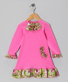 Love this Pink Vine of Flowers Ruffle Dress - Infant & Toddler on #zulily! #zulilyfinds