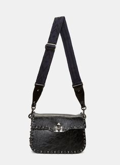 VALENTINO Women'S Medium Guitar Rockstud Rolling Crossbody Bag  In Black. #valentino #bags #shoulder bags #lining #stone #crossbody #suede #