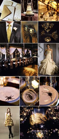 Goth Halloween Wedding in Black and Gold-this has the links below on how to get to the sites to each picture