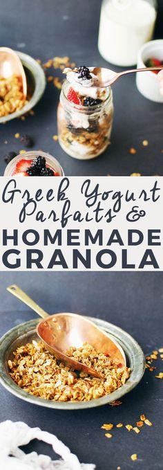 Greek Yogurt Parfaits with Homemade Granola | how to make a yogurt parfait, yogurt parfait recipe, homemade greek yogurt recipes, homemade parfait recipes, homemade granola recipe, how to make a parfait, how to make homemade granola, healthy breakfast rec