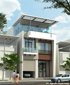 Modern 2 Flat House simply design with a high slab above the ground and a flat louver of the roof top, giving ability to sunshine in early morning. Residential Architecture, Contemporary Architecture, Interior Architecture, Small Villa, Townhouse Designs, Narrow House, Facade House, Modern Buildings, Modern House Design
