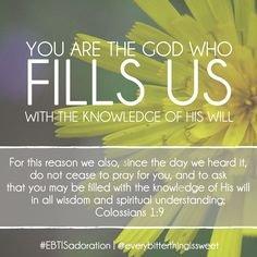 My prayer for you: that you would be filled with the knowledge of God's will in all wisdom and spiritual understanding.