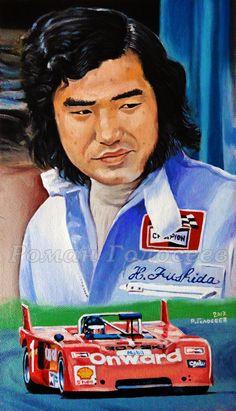 Hiroshi Fushida, Chevron B21P Ford, Fuji, 1973, 29.5x 15, cardboard, oil, 12/20/2017