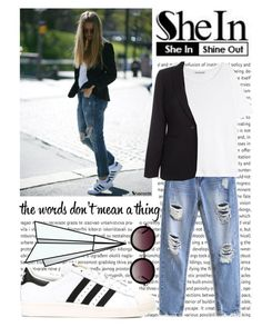 """SHEIN : Ripped Denim Pant"" by missbijou ❤ liked on Polyvore featuring moda, Acne Studios, Plane, Paul Smith, adidas, Monki i Sheinside"
