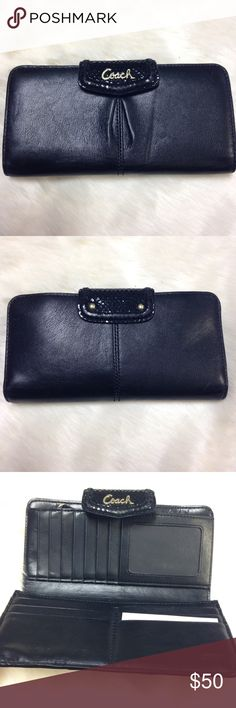 """Solid Black Authentic Coach Bifold Wallet 7.5""""x4"""" Button shut. 13 credit card slots. 1 clear ID slot. Length 7.5"""". Height 4"""". 4 slip slots. 1 inside zipper pocket. Some markings/signs of wear-see pics. Still lots of life left in this-good condition. Coach Bags Wallets"""