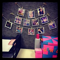 Cubicle decorating ideas: clothes pin picture hanging